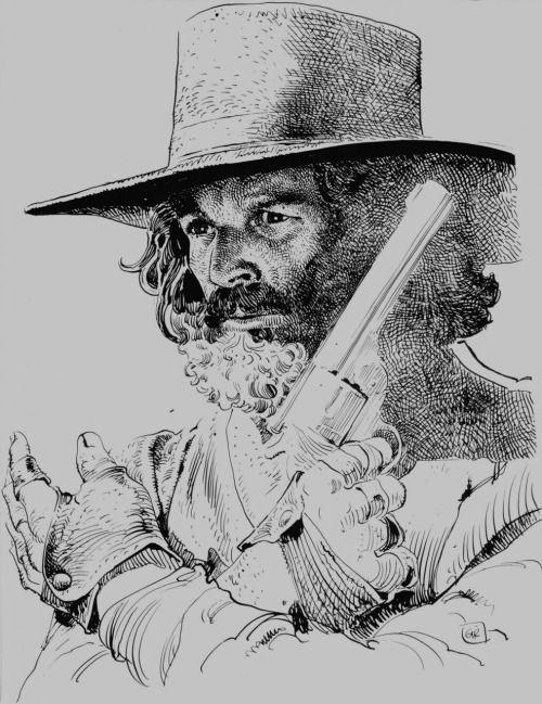 An illustration of Alejandro Jodorowsky as his character El Topo by Moebius, his long-term collaborator.