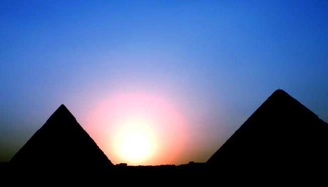 egypt: keops and kefren sunset