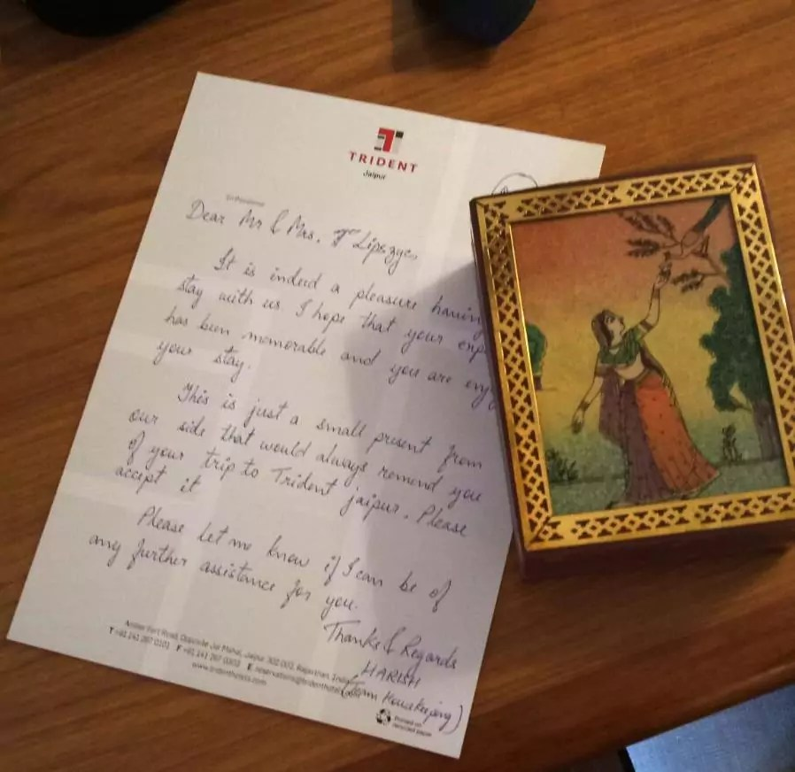 A gift from Triedent hotel Jaipur