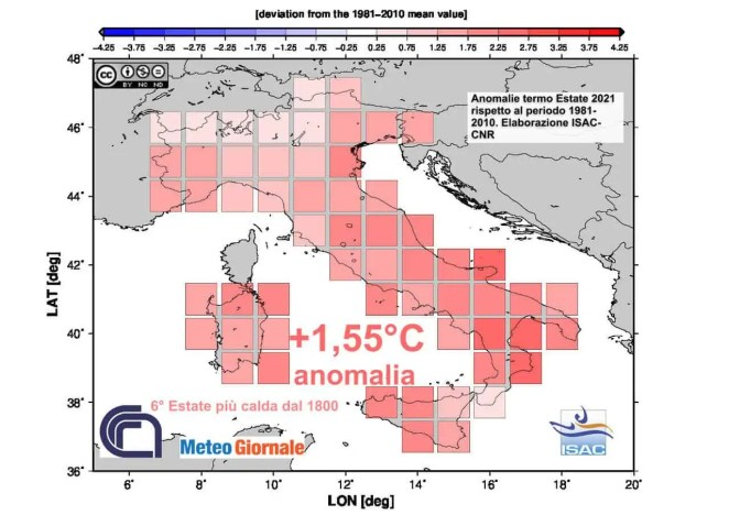 L'estate 2021 è stata fra le più calde di sempre, soprattutto al Sud