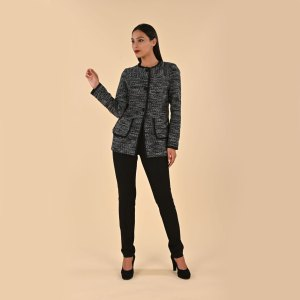 Giacca chanel lunga in tessuto bouclet con lurex per donne curvy