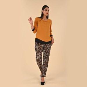 camicia bicolore per donne curvy Pantalone morbido in una micro fantasia