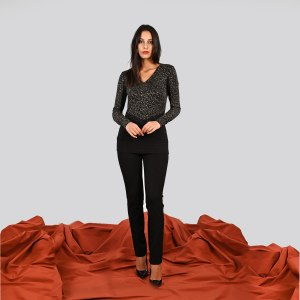Maglia maculata lurex pizzo e tinta unita Meteore Curvy Fashion