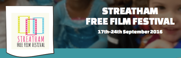 'streatham free film festival' written in bold text with loads of kids in the background