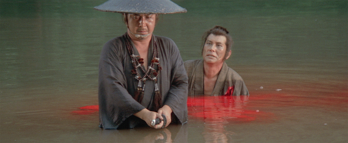 Tomisaburo Wakayama as Ogami Itto (foreground) in Lone Wolf and Cub: Baby Cart in the Land of Demons (1973). Photo courtesy The Criterion Collection