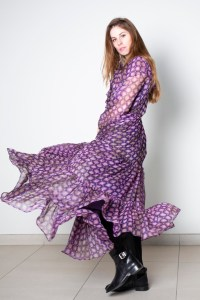 Robe Helen-Purple check