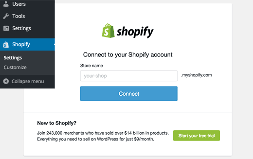 Connect WordPress eCommerce Site to Shopify