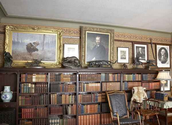 View of sculptures in Theodore Roosevelt library at Sagamore Hill National Historic Site