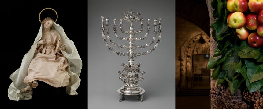 Composite photo of a crèche figure of the Virgin Mary, an elaborate 19th-century menorah, and festive seasonal decorations in a medieval cloister gallery