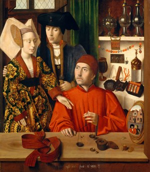 A Goldsmith in his Shop, by Petrus Christus, 1449. Oil on panel. 39 3/8 x 33 3/4 inches. Metropolitan Museum of Art, Robert Lehman Collection, 1975.1.110