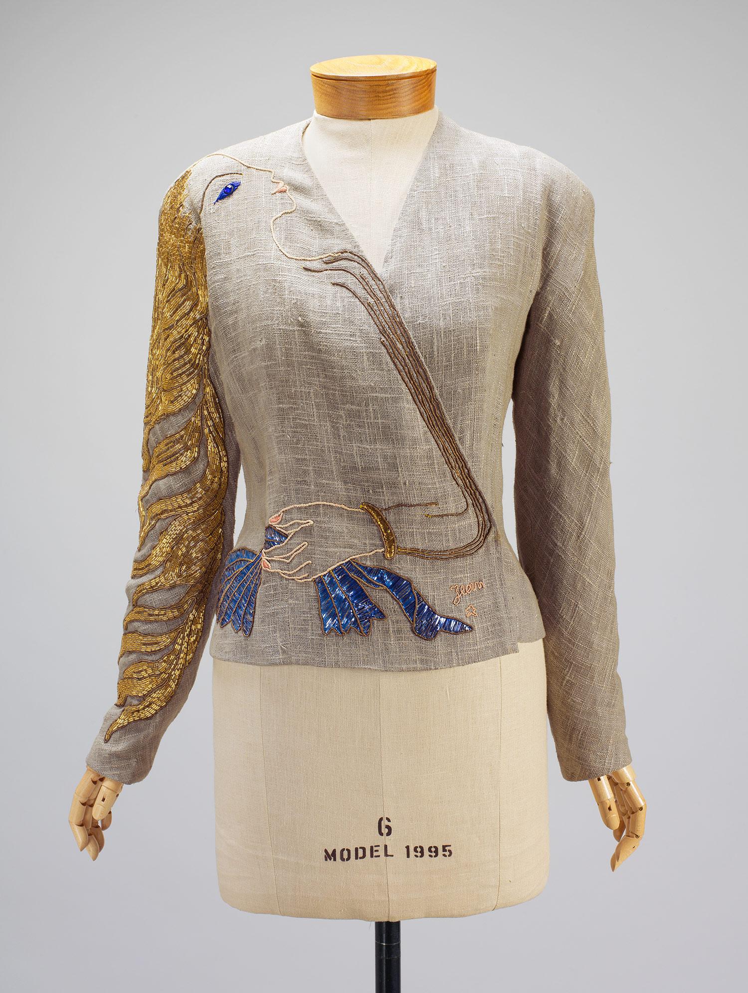 Cocteau Evening Jacket Fall 1937 Elsa Schiaparelli Italian 18901973 Linen  Metallic Foil Beads Paillettes   Designer