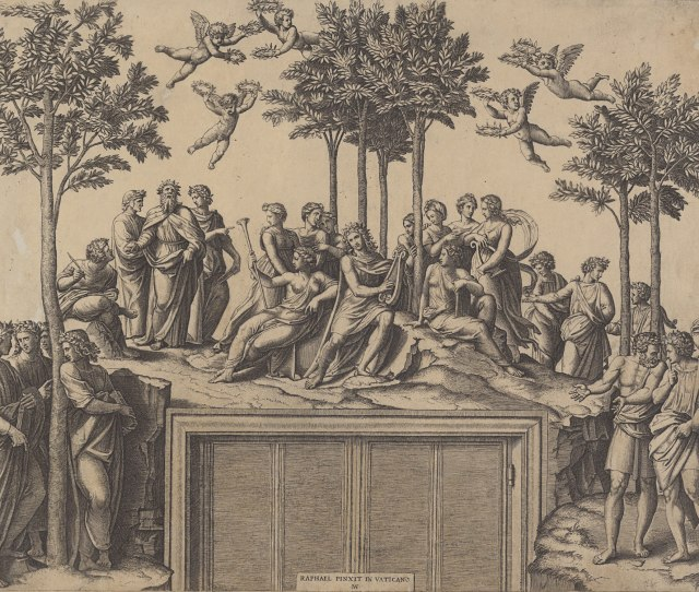 Captions Apollo Sitting On Parnassus Surrounded By The Muses And Famous Poets