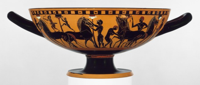 Terracotta kylix (drinking cup), Attributed to the Amasis Painter,Vases