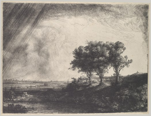 Rembrandt The Three Trees Etching and Drypoint