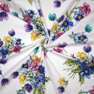 Cotone imprimè stretch – floreale fondo bianco