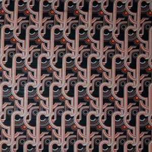 Lana seta imprimè – disegno geometrico arancio grigio su fondo nero
