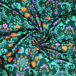 Raso lana seta imprimè – floreale su fondo verde