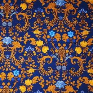 Raso lana seta imprimè – floreale su fondo blu