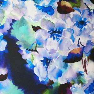Mikado stampato – floreale acquarello toni blu