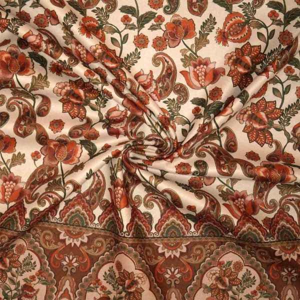 Tessuto imprimè fiori marrone