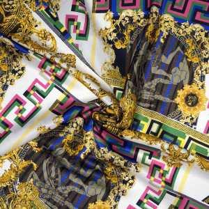 Raso seta viscosa – Greca barocco multicolor