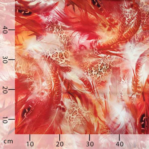 raso seta piume animalier rosso