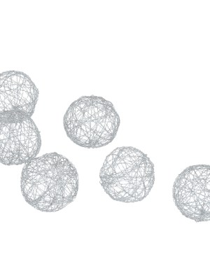 Crinkle Wire Balls Set of Six – Silver
