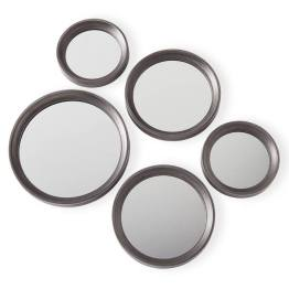 Portico Round Antique Pewter Set of Five Mirrors