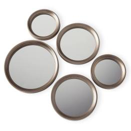 Portico Round Antique Gold Set of Five Mirrors