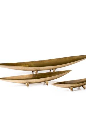 Antique Brass Tapered Boat Bowls – Set of Three