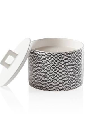 Bergen Weave White Wax Filled Candle Holder – Large