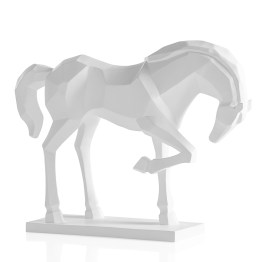 Carved Majestic Prancing Horse Decor Statue -White
