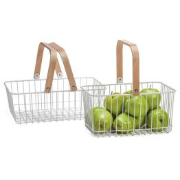 Tempo Nested Storage Baskets Set of Two – White