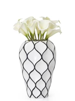 Abstract 10.5″h Lattice Outline Ceramic Vase