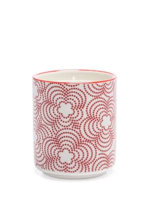 Kiri Wax Filled Porcelain Votive Candle Cup – Red with Red Trim