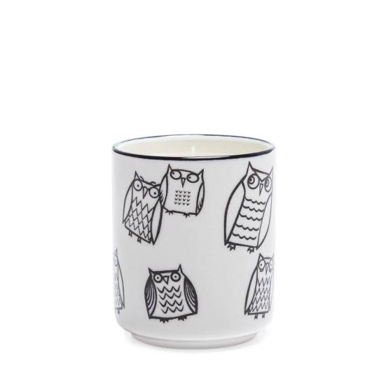 Kiri Wax Filled Porcelain Votive Candle Cup – Owl Outline