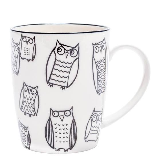 Kiri Porcelain Mug – Owl Outline