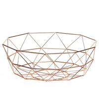 Diamond Weave 12.5″ Diameter Wide Fruit Bowl – Copper