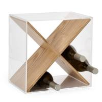 Cube Acrylic & Oak Veneer Wine Rack