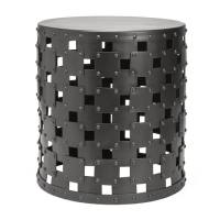 Armory Rivet Pewter Finish Metal Stool
