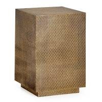 Medina Antique Brass Embossed Cube Side Table