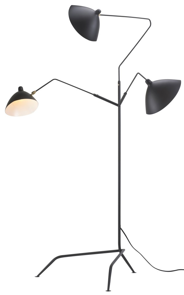 Cantelevor Floor Lamp Black Metal Stem and Base with  Aluminum Lampshade
