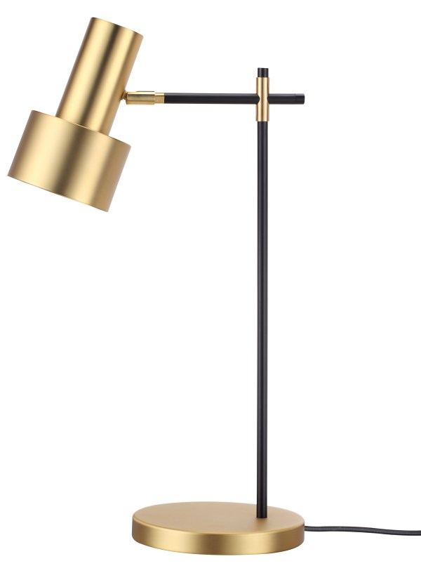 Hoof Table Lamp White Aluminum Shade with Brass Plated Stem