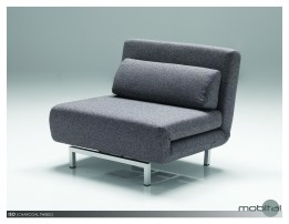 Iso Single Sleeper Swivel Chair-Bed Bark Tweed with Silver Powder Coated Steel