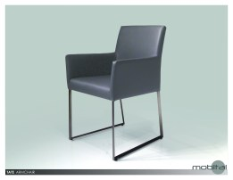 Tate Arm Chair Black Leatherette with Brushed Stainless Steel