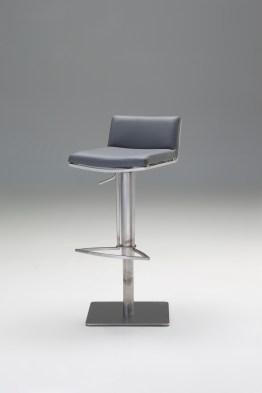 Beny Hydraulic Bar Stool Black Leatherette with Black Powder Coated Steel