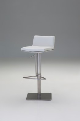 Bond Hydraulic Bar Stool Grey Leatherette with Brushed Stainless Steel