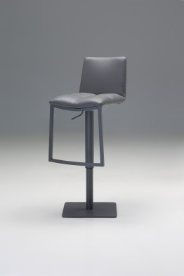 Diner Bar Stool Black Leather with Black Powder Coated Steel Frame