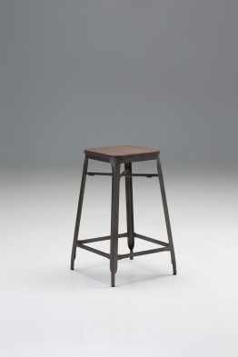 Dove Hydraulic Bar Stool Grey Leatherette with Brushed Stainless Steel