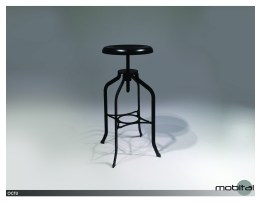 Neo Hydraulic Bar Stool White Leatherette with Brushed Stainless Steel